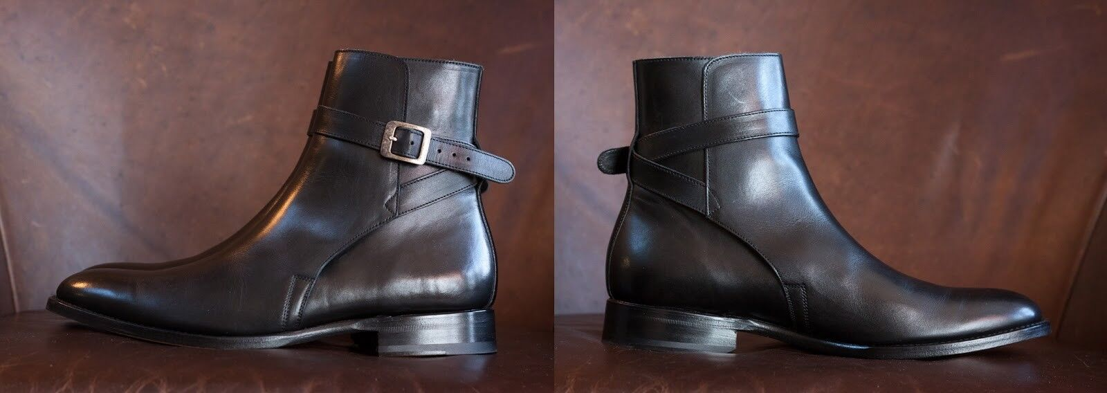 Handmade uomo Brown leather Jodhpurs, uomo dark brown ankle boots, uomo ankle boots Scarpe classiche da uomo