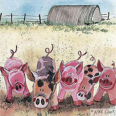 Five Little Pigs Blank Greeting Card by Alex Clark, Any Occasion Greeting Card