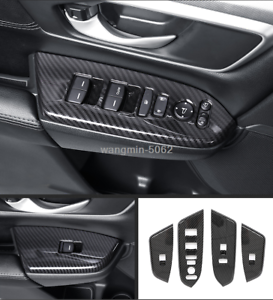 Carbon fiber look Door Cover Armrest Trim 4cps For HONDA CR-V CRV 2017 2018 2019