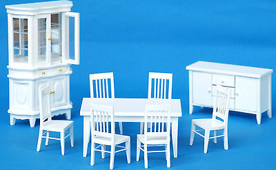 Wooden White Dinning Room Doll House Furniture Set