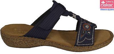 RIEKER Schuhe Pantoletten blau Klettverschluss Keilabsatz Strass NEU Angebot | eBay