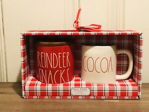 Rae-Dunn-Christmas-By-Magenta-Red-REINDEER-SNACKS-Cellar-COCOA-Mug