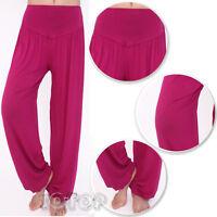Womens Ladies Plain Wide Leg Hareem Flared Baggy Pants Trousers Harem Leggings