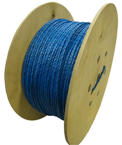 6mm bluee Cable Drawcord Rope Polypropylene x 500m Wooden Drum