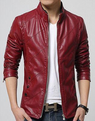 New Men's fashion motorcycle jackets Slim washed leather jacket Coat outwear XXL