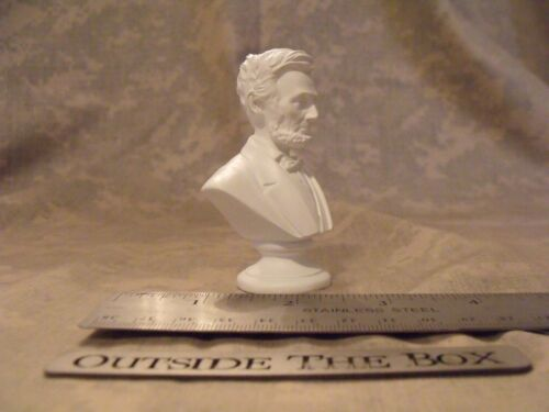 "WHITE Mini Bust Statue Abraham Lincoln NEW IN BOX  3/"" High"