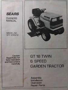 Sears Craftsman GT/18 twin 6sp 1986 Lawn Garden Tractor Owners Manual  917.255912 | eBayeBay
