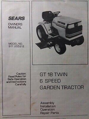 [SCHEMATICS_48IU]  Sears Craftsman GT/18 twin 6sp 1986 Lawn Garden Tractor Owners Manual  917.255912 | eBay | Wiring Diagram Sears Gt18 |  | eBay