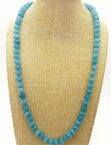 Natural 5x8mm Faceted Brazilian Aquamarine Gemstone Beads Necklace 18/'/' PN1564