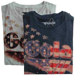 T-shirt-Maglia-Maniche-Corte-GOLA-Classic-100-Cotone-Uomo-Men-Blu-Blue-Bianco-W