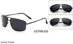 Dark-Lens-MEN-Sunglasses-Square-Aviator-Style-Metal-Frame-Spring-Temple-Top-Gun
