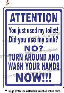 Funny Sign Bathroom Warning Hand Washing Food Service