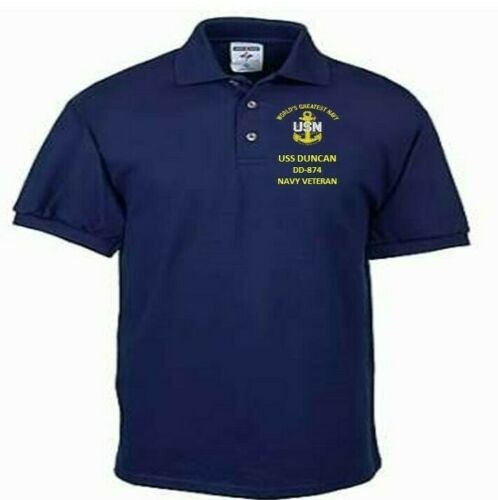 USS BROWNSON  DD-868  NAVY ANCHOR EMBROIDERED LIGHT WEIGHT POLO SHIRT