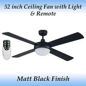 Fias Genesis 52 inch Matt Black Ceiling fan with Light and Remote