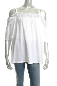 b275d840ee9f59 New Women s Cable Gauge White Cold-Shoulder Top White XL ...