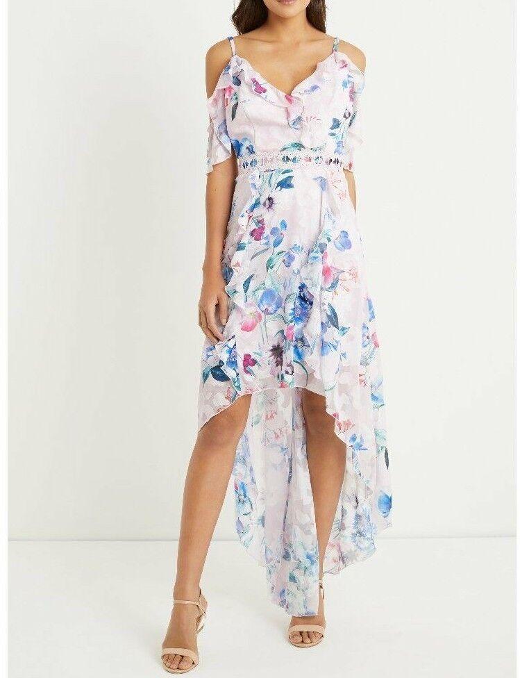 BNWT Lipsy Imogen Floral Print Cold Shoulder Frill Hi Low Maxi Dress UK12 RP