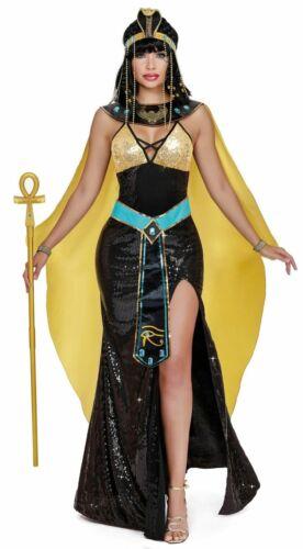Dreamgirl Cleopatra Costume Dress Womens Black N/' Gold Egyptian Goddess SM-XL