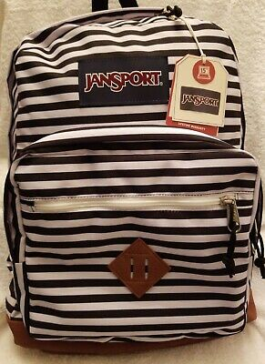 JanSport Simply Striped Black and White City View Backpack