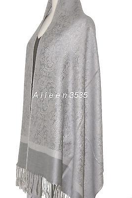 Stunning 70%Pashmina&30% Silk Paisley Shawl~Silver