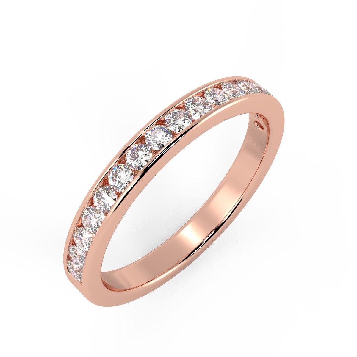 0.25 Carat Round Diamond Channel Set Half Eternity Ring, 9k pink gold
