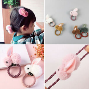 Girl-Baby-Fashion-Furry-Bunny-Rabbit-Hair-Rope-Tie-Hairclip-Accessories