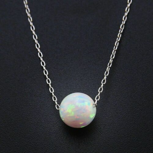 Delicate Opal /& 925 Sterling Silver Ball Necklace Pendant Colourful Gift