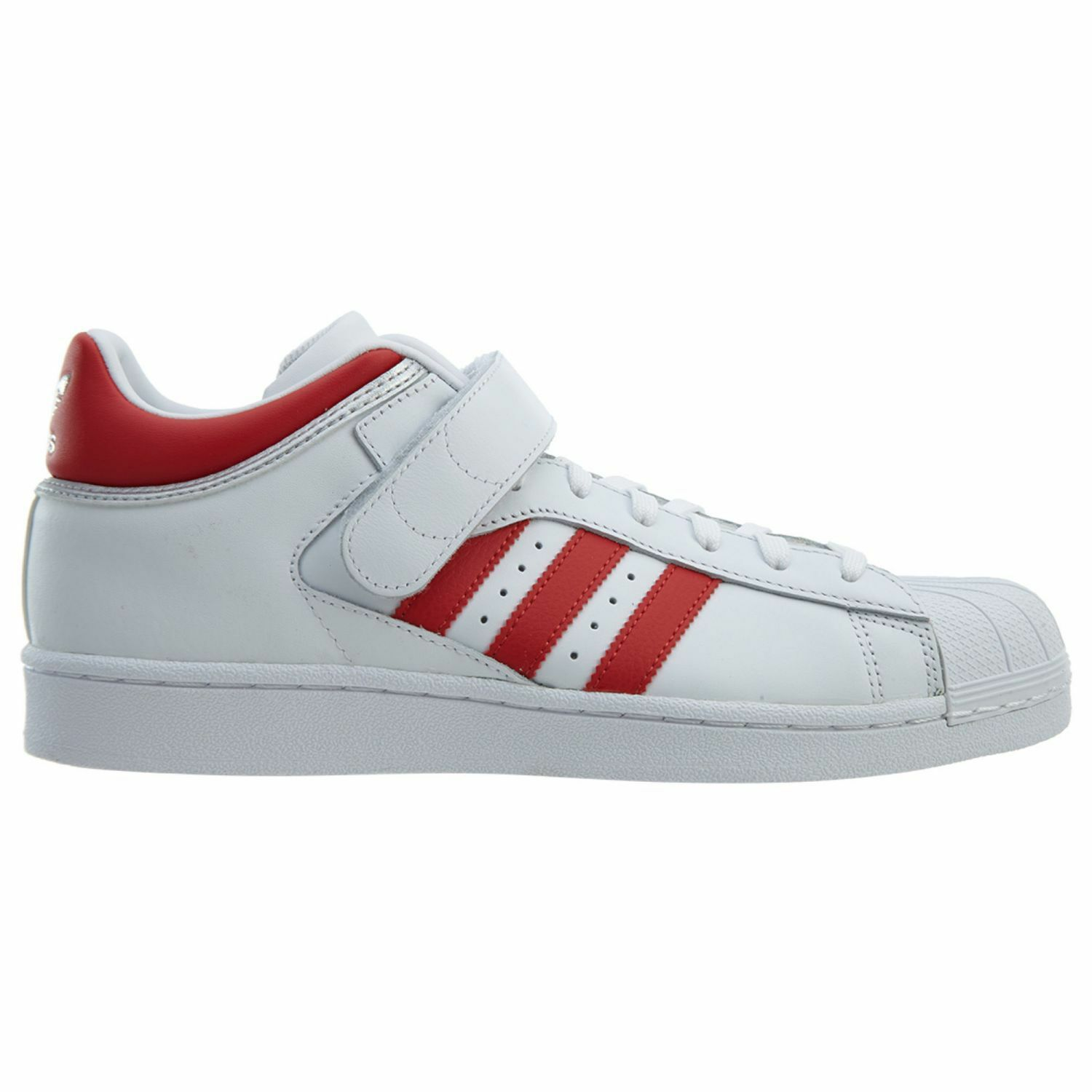 Adidas Pro Shell Mens BY4384 White Scarlet Red Leather Strap Shoes Size 6.5