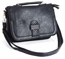 Ladies Flap Faux Leather  Messenger Cross Body Bag Shoulder Handbag Black