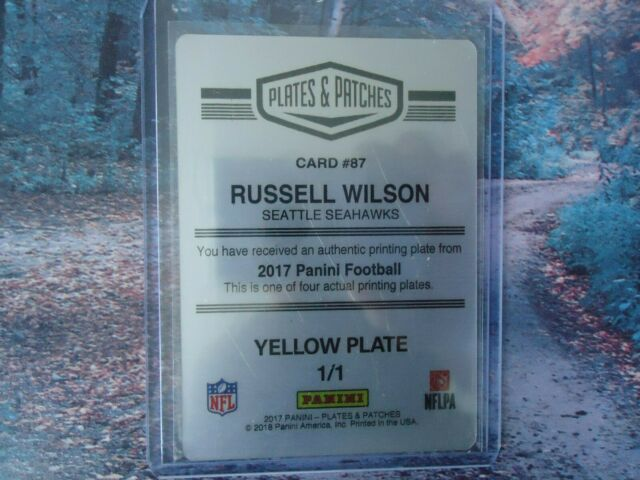 2017 PLATES & PATCHES RUSSELL WILSON PRINTING PLATE SEATTLE SEAHAWKS 1/1 NICE