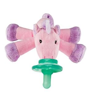 Paci Plushies Unicorn Pacifier Holder and Rattle 2 in 1 Plush Toy