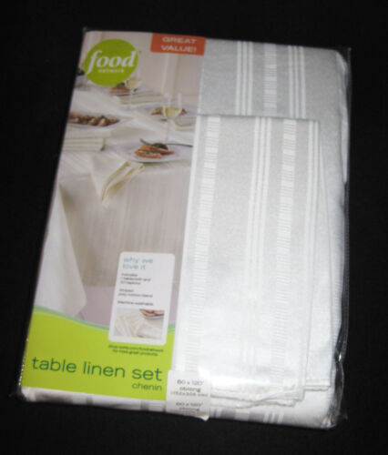 152x213 cm Ivory 7-PC FABRIC TABLECLOTH /& NAPKIN SET FOOD NETWORK 60 x 84 in