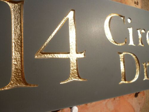 Number GOLD LETTERING Quality Slate House Sign 300x100mm Any Name