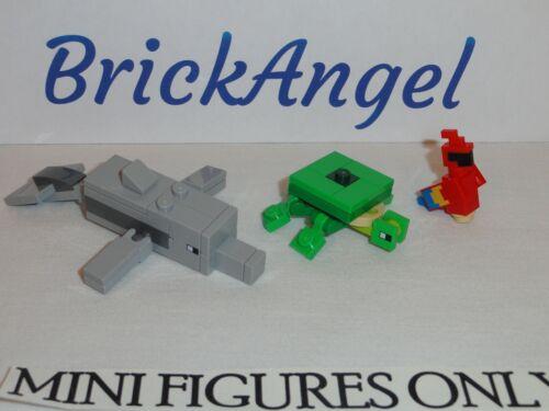 NEW LEGO 21152 Minecraft Mini Figure Lot Alex Pirate Dolphin Parrot Turtle
