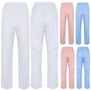 Women's High Waist Medical Doctor Nursing Scrubs Costume Uniform Work Long Pants