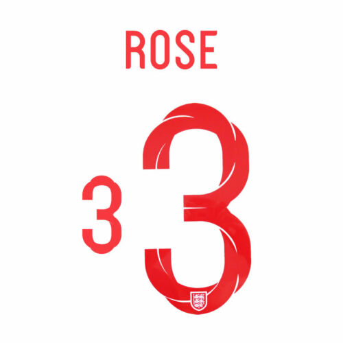 ROSE 3-18 19 RED ENGLAND WORLD CUP HOME NAME SET = PLAYER SIZE