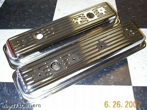 Sbc-Small-Block-Chevy-Center-Bolt-Chrome-Valve-Covers-Vortec-5-0-5-7-Short