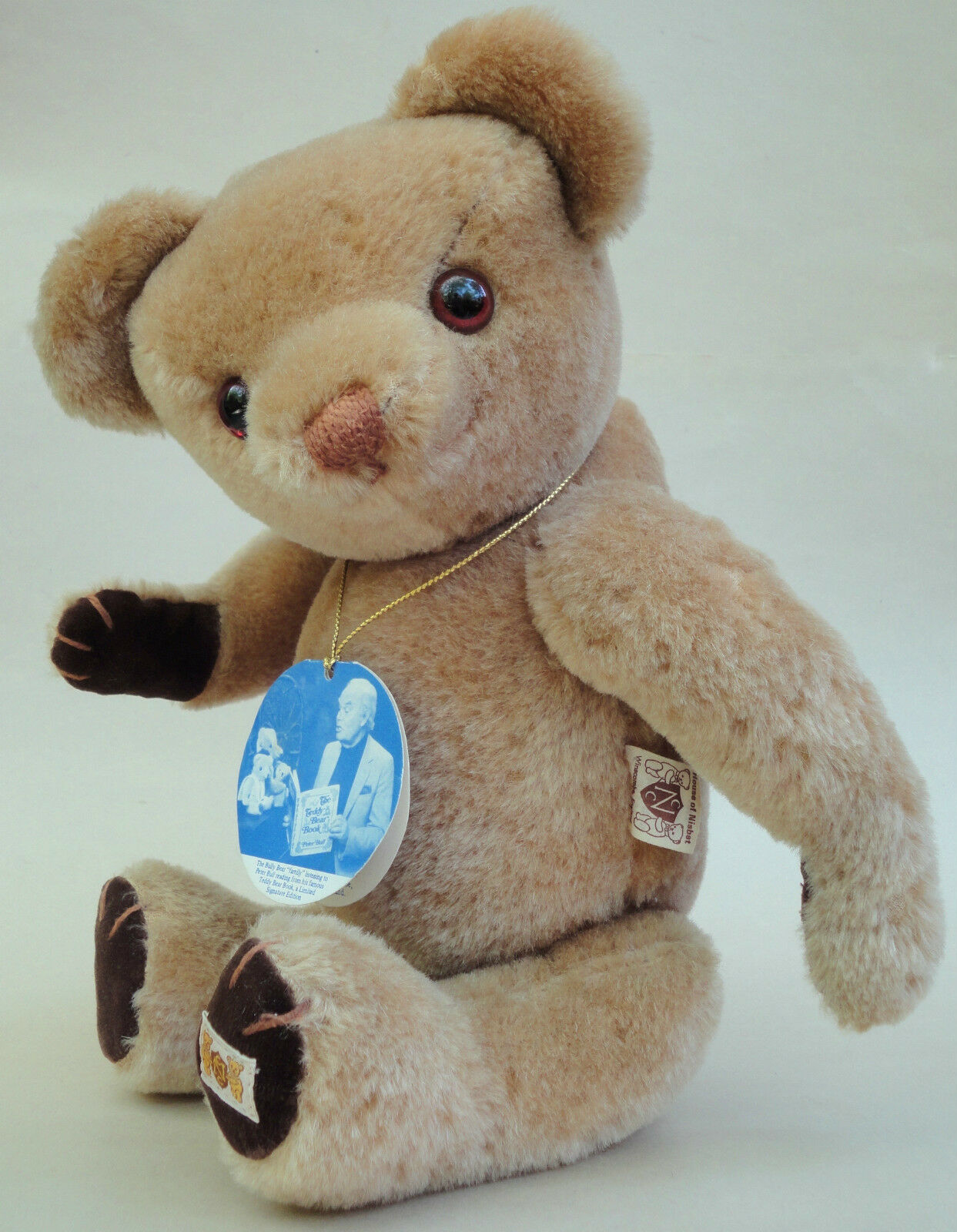 Nisbet Bully Teddy Bear 16  LE 2500 Mohair Plush Foot Label Signed Hang Tag UK