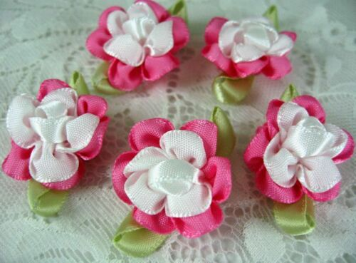 40 Hot Pink Fancy 2 tone Satin Ribbon Flower Sewing Applique//Craft
