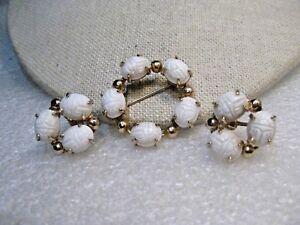 Vintage White Scarab Screw Back Earrings
