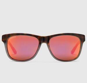 d002982507 Image is loading Gucci-Bio-Based-Orange-Brown-Havana-Rectangle-Sunglasses-