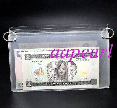 20 pocket Hard Clear Album Currency Sleeves Holders for Banknotes Bill display