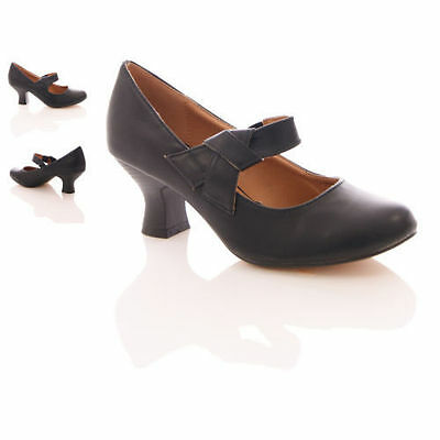 WOMENS LADIES NEW STRAP MID HEEL CASUAL SMART WORK PUMP COURT SHOES SIZE 3-8