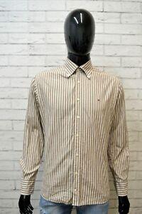 Camicia-Uomo-TOMMY-HILFIGER-Taglia-L-Maglia-Polo-Shirt-Righe-Hemd-Cotone-Bianco