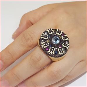 MCL Matthew Campbell Laurenza Sapphire Enamel Retro Ring Sterling Silver Sz 5.5