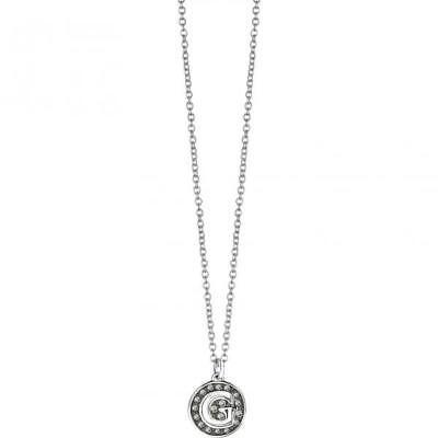 Collana Donna GUESS UBN51481 Acciaio Logo Swarovski Pietre Nere Charms FIV