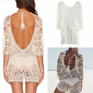6690d26aca5a Sexy Bikini Suit Lace Beach Dress Crochet Swimwear Cover Up Summer ...