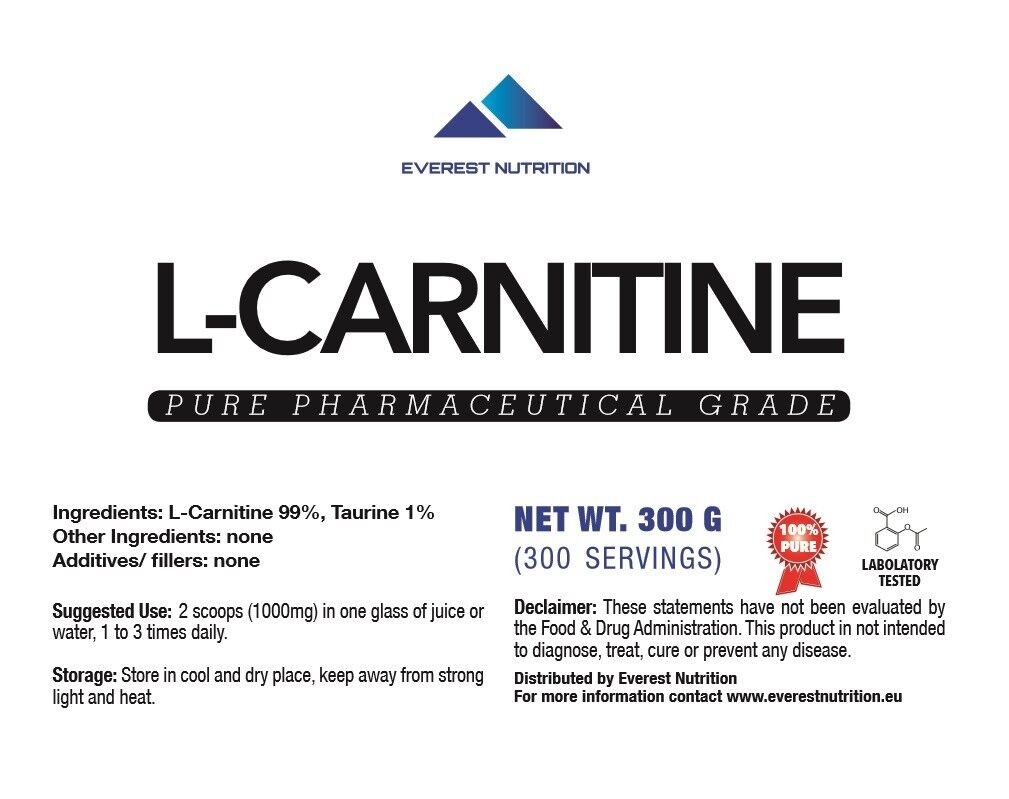 L-CARNITINE PURE PHARMACEUTICAL PHARMACEUTICAL PURE QUALITY POWDER, FAT BURNER, ANTIOXIDANT 2a75cf
