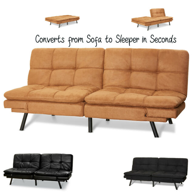 Faux Leather Convertible Folding Futon Sofa Bed Sleeper Memory Foam Full  Size