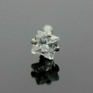 Square Simulated Diamond Nose Piercing Bone Silver Surgical Steel
