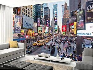 Detalles De 3d Times Square Ny City Pleno Mural De Pared Foto Wallpaper Papel De Impresión Home Deco Ver Título Original